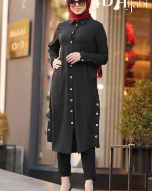 Turkish Front-Button Black Tunic