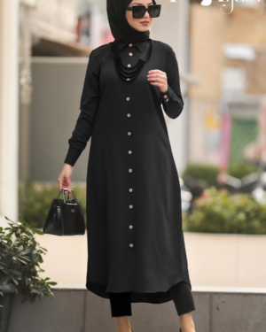 Front-Buttoned Black Tunic
